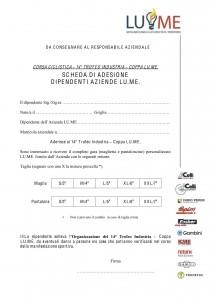 Modulo di iscrizione Coppa LU.ME -Trofeo Industria Ciclismo2013